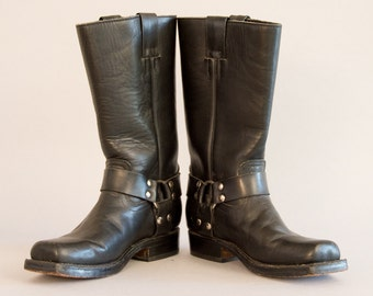 Black Leather Harness Boots - Vintage Women's Engineer Boots Motorcycle Boots Riding Boots by Go West Leather Sole Square Toe Size 37