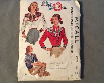 Fabulous 1946 McCall Pattern # 1297, Vintage Misses Western Shirt, Size 14, Bust 34, Rockabilly VLV Great !