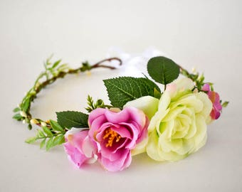 Pink floral crown. Green floral crown. Flower crown in pink and pale green. Wedding headpiece Bridesmaids wreath or Flowergirl headband