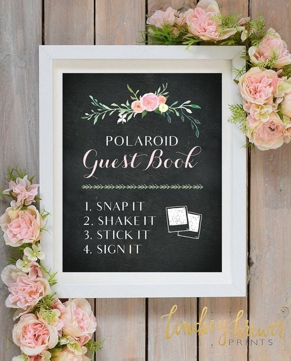 Polaroid Guest Book: Polaroid Guest Book Chalkboard Floral Sign By