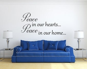 Peace In Our Hearts Vinyl Decal Wall Decal Custom Wall Custom Quote Verse Wall Decal Peace Sign Peace Wall Decal Peace Wall Art