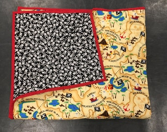 Pirate Quilt, Treasure Map Quilt, Whole Cloth Quilt, Kids Quilt, Baby Gift, Boys Gift, Pirate Skull and Cross Bones, Baby Blanket,