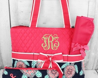 Pink turtle duffle and diaper bag set, Matching hospital duffle and diaper bag, mommy baby bag, Prepacked labor bag, Personalized bags