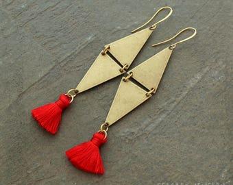 Silk Tassel Earrings - Boho Earrings - Orange Tassel Earrings - Triangle Earrings - Geometric Earrings - Global Inspired Earrings - Tassle