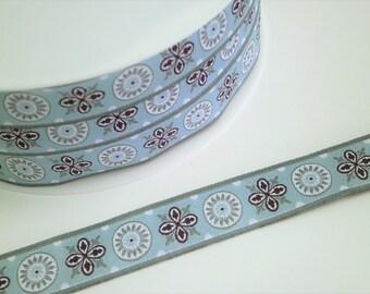 """1 m Woven Ribbon """"Ornament NEW"""" 16 mm w."""