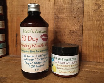 30 Day Healing Herbal Mouthwash and Remineralizing Lemon Frankicense Tooth Powder Combo
