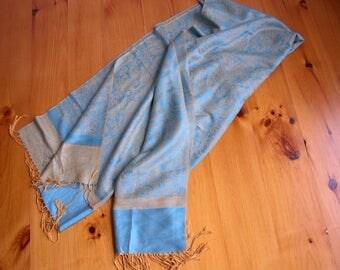Turquoise Blue and Gold Pashmina Style Shawl Wrap