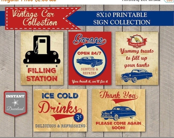 SALE INSTANT DOWNLOAD Vintage Car Birthday Party Sign Package / Printable 8x10 / Vintage Car Collection / Item #1401