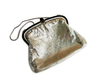 Vintage evening bag silver, mesh evening bag Oronto made in USA 50 he years