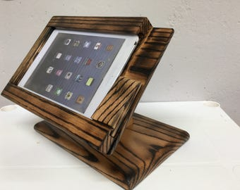 Torched Oak wood iPad mini stand