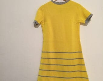 Vintage modette minidress vestitino giallo yellow stripes size S