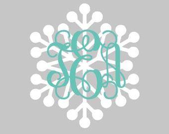 Snowflake Monogram Decal | Winter Monogram | Christmas Monogram Decals | Yeti Snowflake Decals | Car Decal | Cute Decal