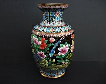 "Large Vintage Chinese Cloisonne Enamel Bird and Flowers Vase 15"" Tall"