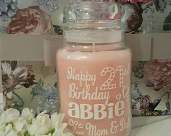 Personalised Candle/Jar Sticker Label Happy Birthday Gift Idea Any Name Your Text 18th 21st 30th 40th 50th 60th 70th 80th 90th 100th Mum Nan