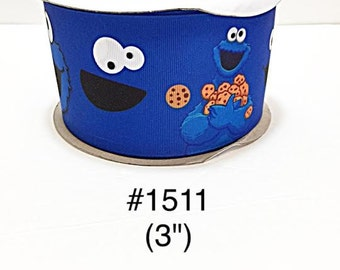"2/3/5 yard - 3"" Cookie Monster Blue Jumbo Grosgrain Ribbon Hair Bow Cheer Bow"