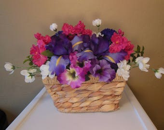 Silk Flower Arrangement- Woven Basket -Thinking of You- Get Well-Congratulations- Birthday-Anniversary-Just Because-Gift for Her