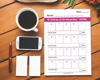 Monthly Goal Setting Calendar