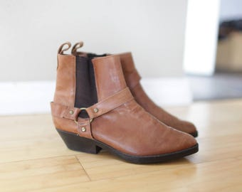 vintage  tan brown leather ankle cowboy boots womens  6 1/2