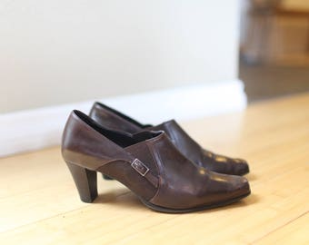 vintage sudini brown leather slip on oxford ankle boots womens 7