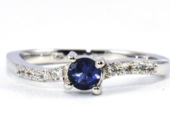 Fine Jewel-Size 6-Water Sapphire Iolite Ring-4mm Round Cut-June Birthstone Ring-Promise Ring-Birthday Gift-Propose Ring-Iolite Silver Ring