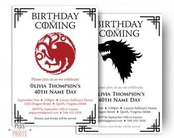 Dragon Birthday Invitation - Wolf Birthday Invitation - Game of Thrones Birthday Invitation (Printable) Name Day Invitation