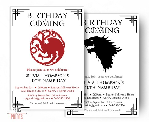 Dragon Birthday Invitation Wolf Birthday Invitation Game