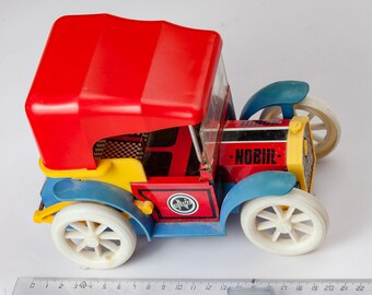 Lovely plastic vintage car with trailer from USSR - Soviet toy - Toy Car