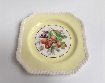 VINTAGE Johnson Bros 'Old English' Pastel Yellow Plate, Featuring Fruit c1920s