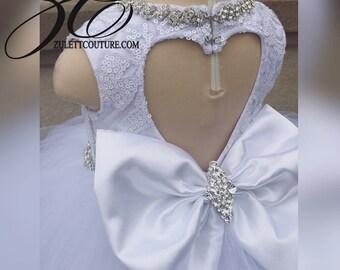 Flower Girl Dress - Big Bow Dress -Wedding Dres- Ice Princess - Froze Dress - The WW Ellie Dress by zulettcouture