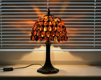 Amber Gold  Stained Glass Lamp, Tiffany Lamp