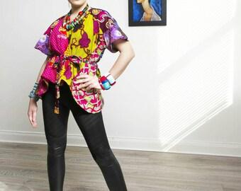Ladi Pink Wrap top Ankara blouse African Clothing African Print Top African Fashion African Top African Blouse Ankara