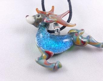 Deer - Glass Pendant Necklace lampwork