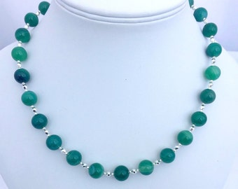 Green Agate Gemstone Necklace, Banded Agate Jewellery, Green Necklace, Green Gemstone Jewelry, Gift For Her, Natural Stone, Beaded Necklace