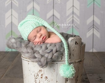 Newborn Photography Prop, Long Tail Elf Hat, Newborn Photo Prop, Hoo Hat, Hat with Long Tail, Newborn Pictures, Photo Prop, Photography Prop