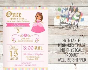 Princess Birthday Party Invitation, Brunette, Tan Birthday Princess invitation, Tan Birthday invite, Tan princess, dark haired princess