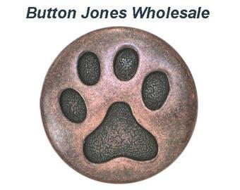 50 pcs. Cat Paw 3/4 inch ( 20 mm ) Metal Buttons Antique Copper Color