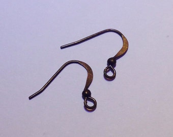 10 pair earring fish hook - 15 mm - bronze - fish hook - ear spring