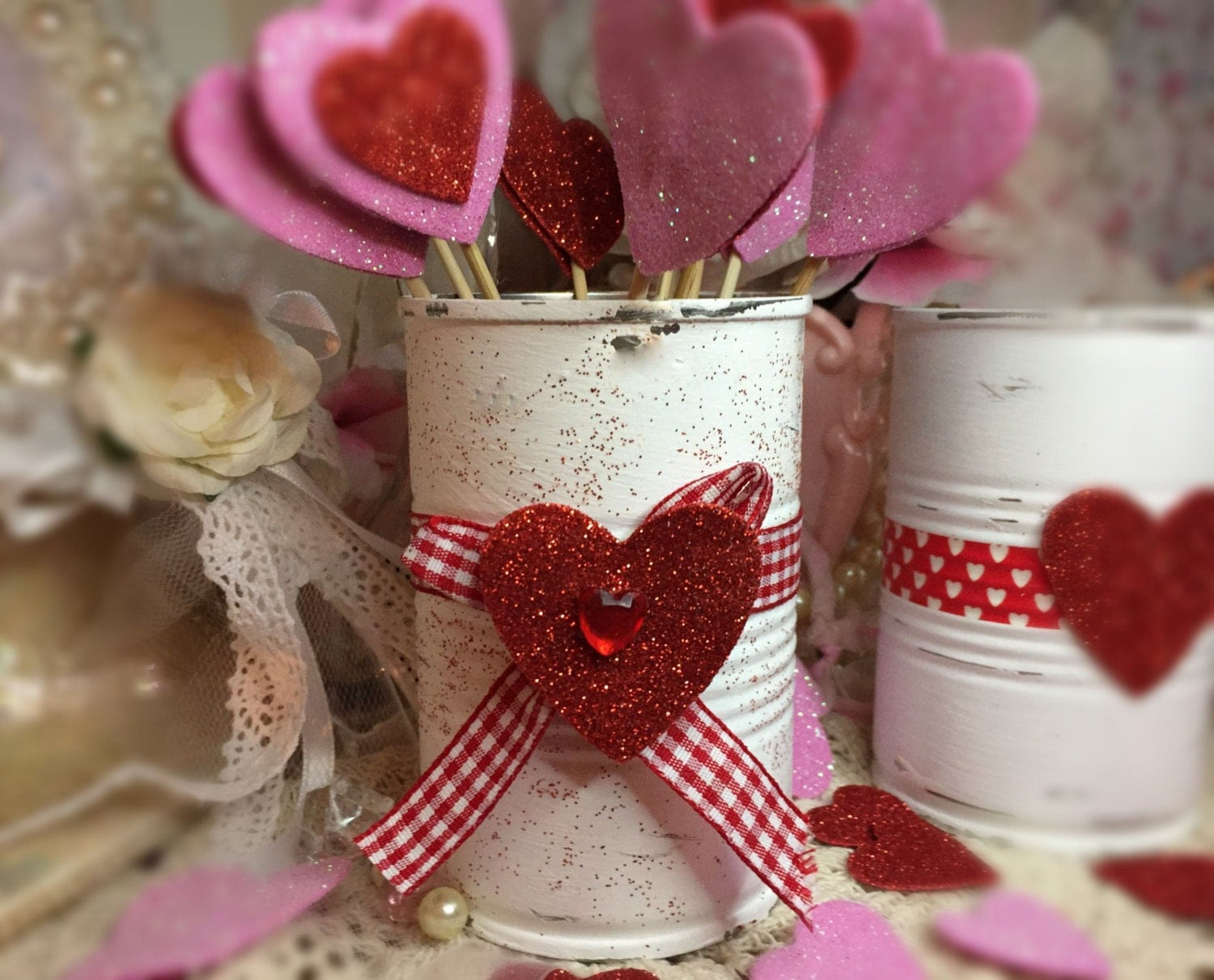 Valentines day decor white painted small tin can red for Table 52 valentine s day