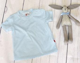 Baby T-shirt size 1 pale blue/white stripe