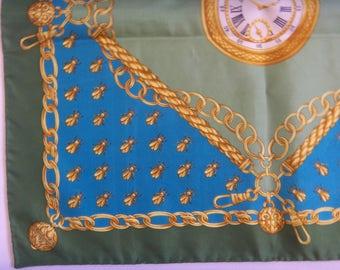 Vintage WINDSOR Pocket Scarf Gavroche Pochette Silk, Pocket Watch & Bee