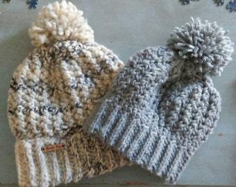 Kids Crochet Slouchy Gray Green Beanie Beret Hat with Pom Pom Ear Warmer Cozy Snow Ski Accessory kids size