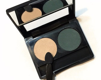 ORGANIC EYESHADOW DUO Safari Green & Honeybee Pressed Mineral Eyeshadow  - Gluten Free Vegan Plant Makeup