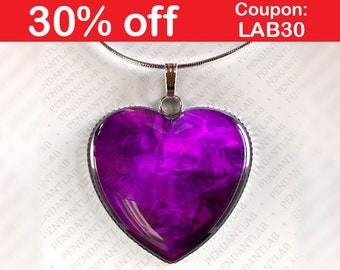 Purple Heart Pendant, Purple Heart Necklace, Heart Pendant, Heart Necklace, Fantasy Jewelry, Purple Pendant Necklace, Dark Purple Necklace