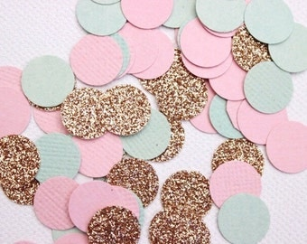 Pink, Mint and Gold Confetti. 150 Pieces. Wedding - Engagement - Table Scatters - Invitation Insert.