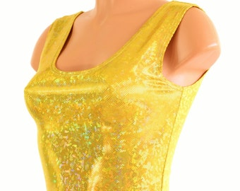 Gold on Gold Shattered Glass Holographic Tank Crop Top 8195