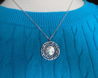 Sterling Silver Necklace with Handcrafted Sterling Labyrinth Style Pendant