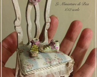 1/12 romantic chair hand painted and decorated by Bea shabby chic style.