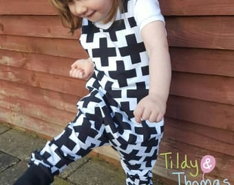 Baby/Toddler/Kids Black & White Cross Dungarees/monochrome/baby clothes/gifts for kids/harem romper/brindille and twig/kids clothes