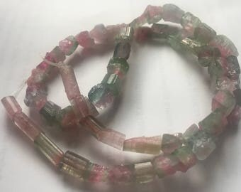 "16"" Superb 150ct Hammer cut watermelon Tourmaline Beads Strand Afghanistan Afghanistan T202"