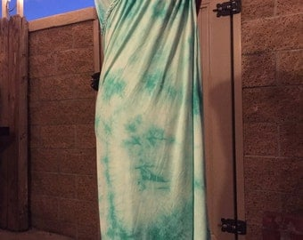 Braided beach cover-up, versatile cover-up, mint tie dye